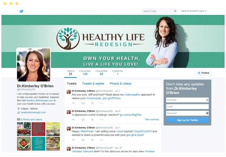 Healthy Life Redesign Social Media Branding - Twitter
