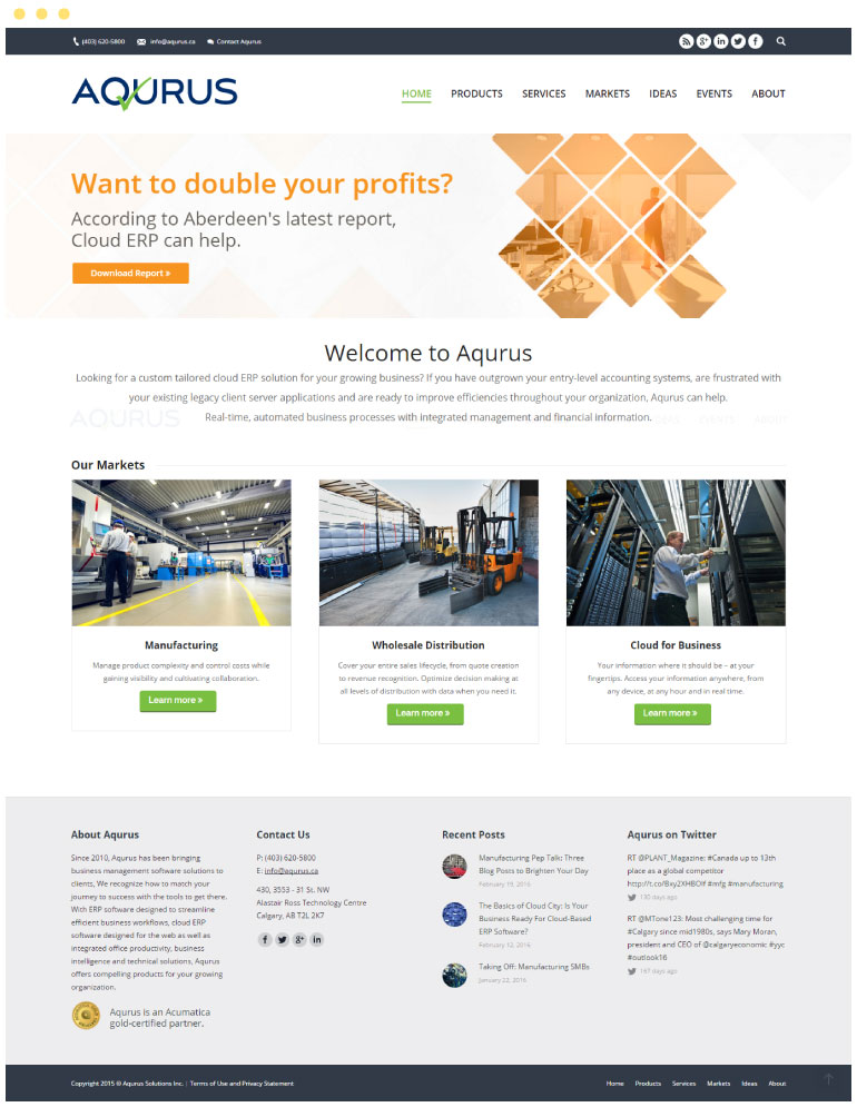Aqurus Solutions Website #1